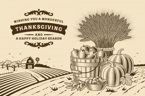 Vintage looking graphics and text on a Thanksgiving eCard