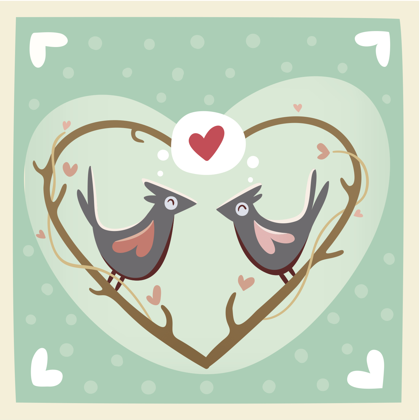 Happy Valentine's Day eCard with cartoon birds dreaming of a red heart