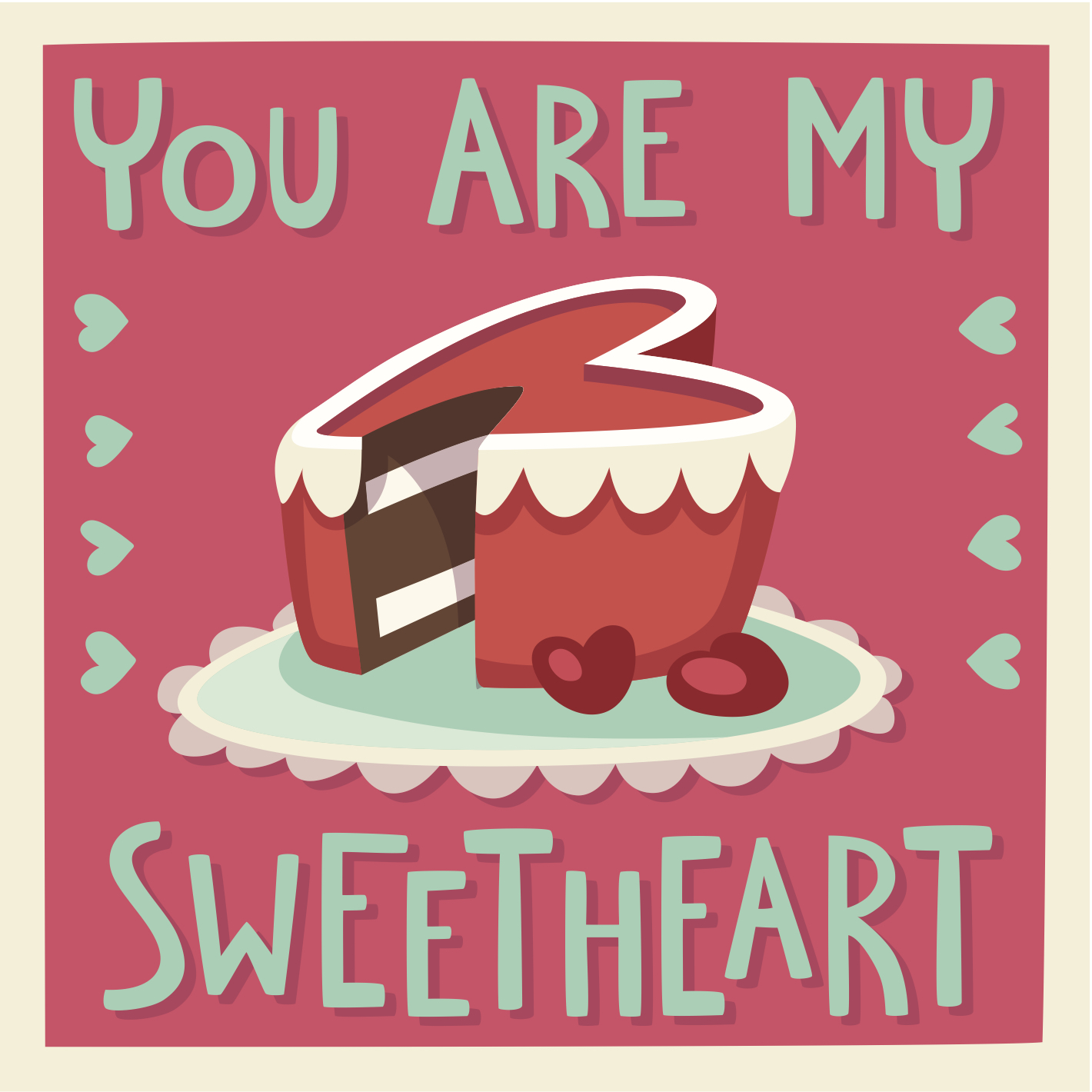 Valentine's Day eCard with a heart shaped cake