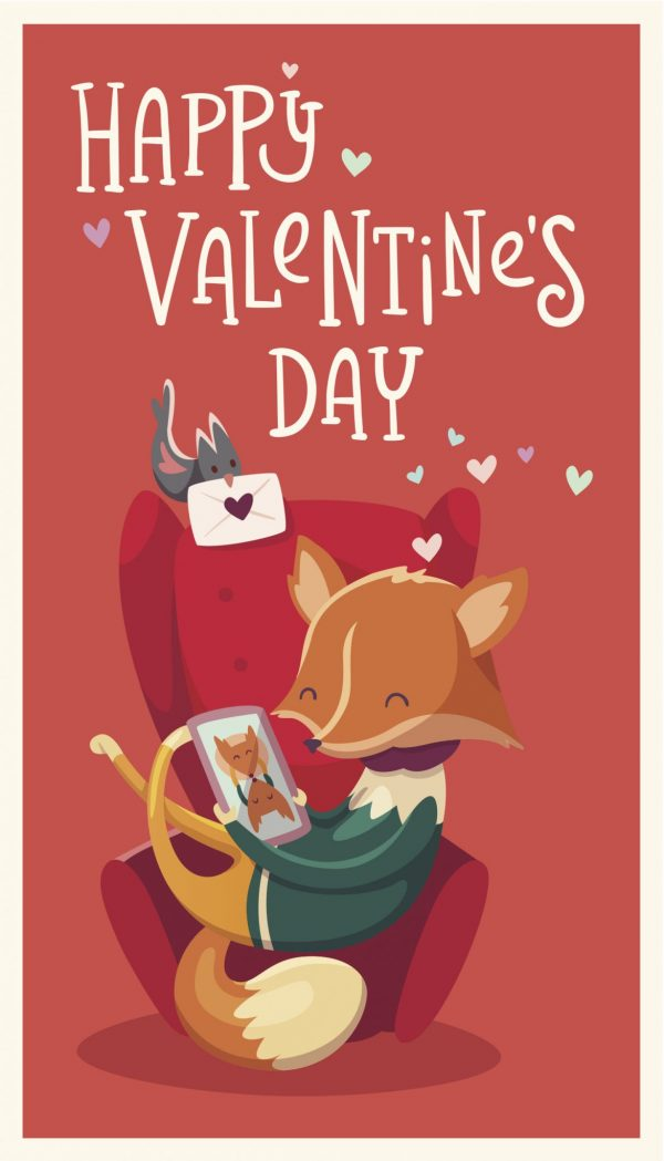 Valentine's Day eCard with a picture of a cartoon fox looking at a picture of another fox