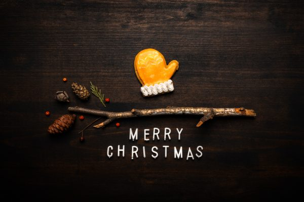 A mitten shaped Christmas cookie and a twig on a Christmas eCard