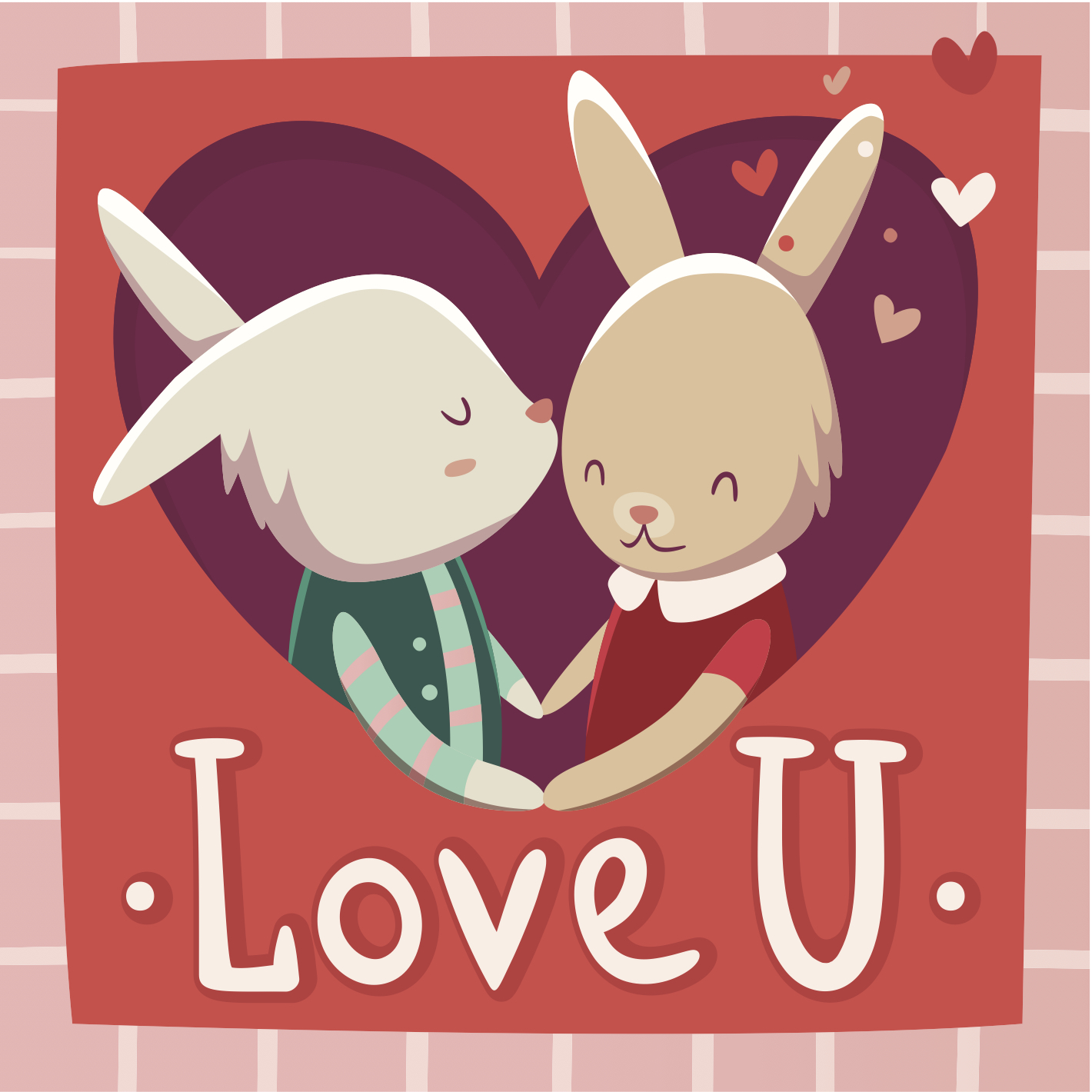 Valentine's Day eCard with two cartoon bunnies holding hands
