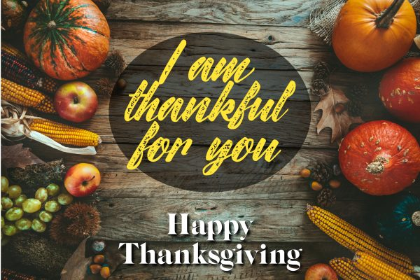 I am thankful for you Thanksgiving eCard showing fall vegetables